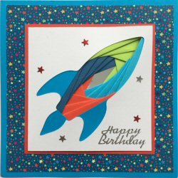 IF2183,Rocket,Red, Blue & Green,Stars Background,Bright Blue Card,Happy Birthday,Iris Folding Card Kit (144mm x 144mm)