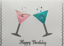 IF2184,Cocktail Glasses,Pink & Blue Shimmer,Happy Birthday,Iris Folding Card Kit (127mm x 178mm)