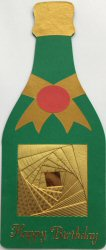 IF2186, Champagne Bottle Shaped Card,Gold Iris Fold Bottle Label, Happy Birthday,Iris Folding Card Kit (90mm x 210mm)