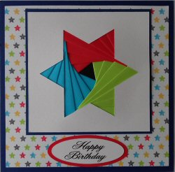 IF2189,Star,Red, Blue & Green,Stars Background,Cobalt Blue Card,Happy Birthday,Iris Folding Card Kit (144mm x 144mm)