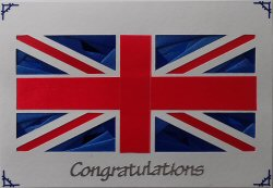 IF2190, Union Jack Flag, Red & Blue on White,Congratulations,Iris Folding Card Kit (104mm x 148mm)
