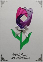 IF2073, triple Heart,Grey & purple, Happy Anniversary,Iris Folding Card Kit (144mm x 144mm)