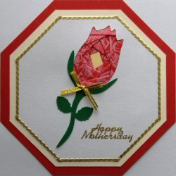 IF2256, Rose Octagon,White Panel,Cream Shadow on Red Octagon,Oct Iris Folding Card Kit (144mm x 144mm)