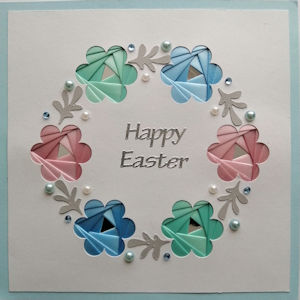 IF2276, Daisy Wreath White Panel,on Blue Sqr Card,Pink,Green & Blue Ribbon,Happy Easter Sqr Iris Folding Card Kit (144mm x 144mm)
