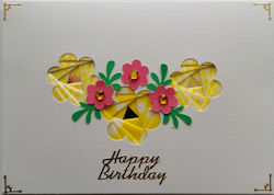 IF2286,Triple Daisies, Yellow & White Gingham & Spotty Ribbon,Happy Birthday,Iris Folding Card Kit (104mm x 148mm)