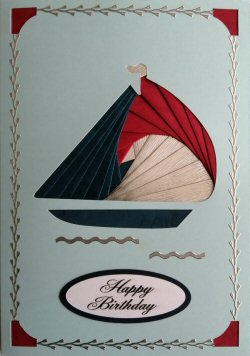 IF2288, Yacht, Red, Blue & Silver, Happy Birthday, Large Blue Iris Folding Card Kit (127mm x 178mm)