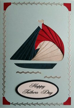 IF2289, Yacht, Red, Blue & Silver, Happy Fathers Day, Large Blue Iris Folding Card Kit (127mm x 178mm)