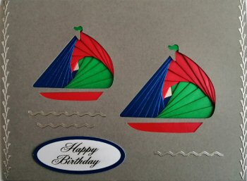 IF2290,Twin Yachts, Red, Blue & Green, Happy Birthay, Large Grey Iris Folding Card Kit (127mm x 178mm)