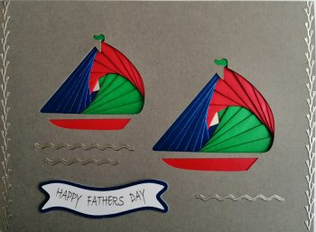 IF2291,Twin Yachts, Red, Blue & Green, Happy Fathers Day, Large Grey Iris Folding Card Kit (127mm x 178mm)