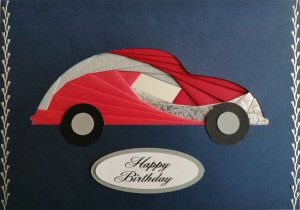 IF2292,Beetle Car, Red & Silver, Happy Birthday, Large Navy Blue Iris Folding Card Kit (127mm x 178mm)