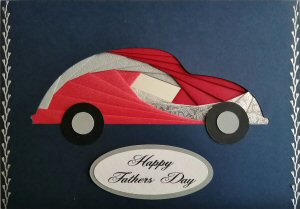 IF2293,Beetle Car, Red & Silver, Happy Fathers Day, Large Navy Blue Iris Folding Card Kit (127mm x 178mm)