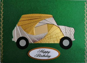 IF2294,Mini Car, Gold & Silver, Happy Birthday, Large Forest Green Iris Folding Card Kit (127mm x 178mm)