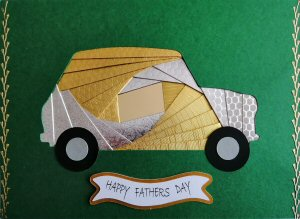 IF2295,Mini Car, Gold & Silver, Happy Fathers Day, Large Forest Green Iris Folding Card Kit (127mm x 178mm)