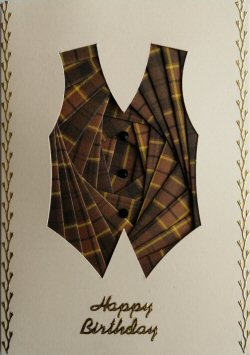 IF2296 Waistcoat, Brown Tartan,Happy Birthday, Cream Iris Folding Card Kit (104mm x 148mm)