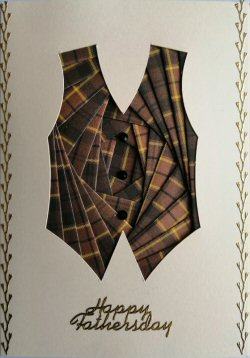 IF2297 Waistcoat, Brown Tartan,Happy Fathersday, Cream Iris Folding Card Kit (104mm x 148mm)