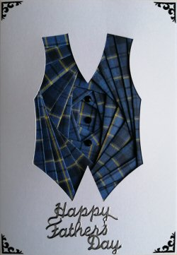 IF2298 Waistcoat, Blue Tartan,Happy Fathers Day, White Iris Folding Card Kit (104mm x 148mm)
