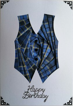IF2299 Waistcoat, Blue Tartan,Happy Birthday, White Iris Folding Card Kit (104mm x 148mm)