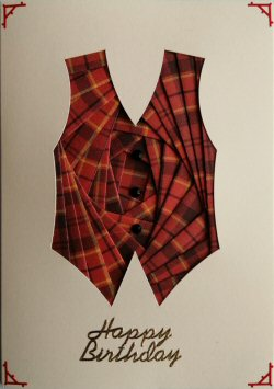 IF2301 Waistcoat, Red Tartan,Happy Fathersday, Cream Iris Folding Card Kit (104mm x 148mm)
