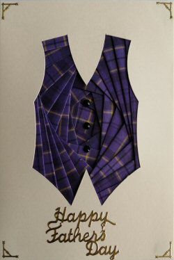 IF2302 Waistcoat, Purple Tartan,Happy Fathers Day, Cream Iris Folding Card Kit (104mm x 148mm)