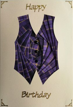IF2303 Waistcoat, Purple Tartan,Happy Birthday, Cream Iris Folding Card Kit (104mm x 148mm)