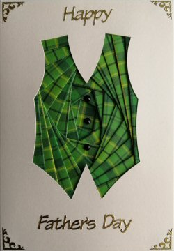 IF2304 Waistcoat, Green Tartan,Happy Fathers Day, Cream Iris Folding Card Kit (104mm x 148mm)