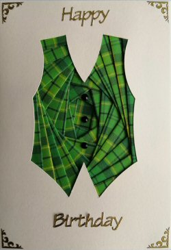 IF2305 Waistcoat, Green Tartan,Happy Birthday, Cream Iris Folding Card Kit (104mm x 148mm)