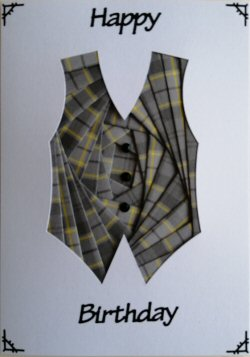IF2307 Waistcoat, Grey Tartan,Happy Birthday, White Iris Folding Card Kit (104mm x 148mm)