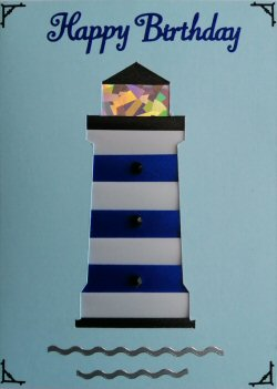 IF2308 Lighthouse, Blue & White Ribbon,Happy Birthday, Blue Iris Folding Card Kit (104mm x 148mm)