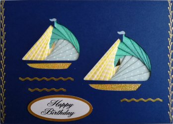 IF2309,Twin Yachts, Blue Shimmer,Blue & white polka & Yellow Gingham, Happy Birthday, Large Cobalt Blue Iris Folding Card Kit (127mm x 178mm)