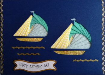 IF2310,Twin Yachts, Blue Shimmer,Blue & white polka & Yellow Gingham, Happy Fathers Day, Large Cobalt Blue Iris Folding Card Kit (127mm x 178mm)