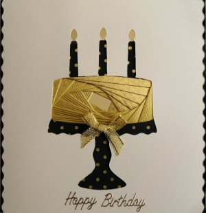 IF2314, Cake on Stand, Gold Textured Paper,Black with Gold Spots Candles & Stand, Happy Birthday, Cream Sqr Iris Folding Card Kit (144mm x 144mm)
