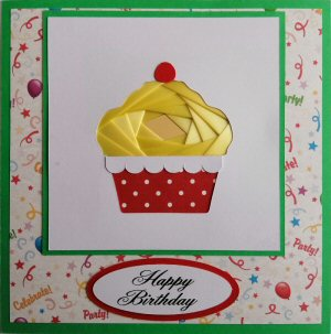 IF2315,Cup Cake, Yellow Ribbon with Red & White Spot Case,Party Paper Backing, Happy Birthay, Bright Green Sqr Iris Folding Card Kit (144mm x 144mm)