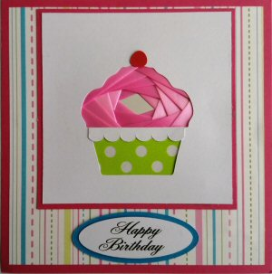 IF2316,Cup Cake, Pink Ribbon with Green & White Spot Case,Stripes Paper Backing, Happy Birthay, Dark Pink Sqr Iris Folding Card Kit (144mm x 144mm)