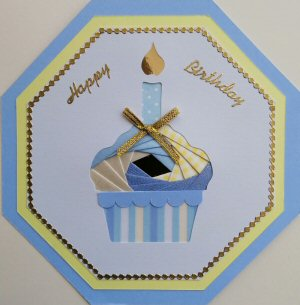 IF2317,Cup Cake with Candle, White Octagon Panel,Lemon Shandow on Blue Octagon Card,Blue & Yellow Paper Happy Birthday,Oct Iris Folding Card Kit (144mm x 144mm)