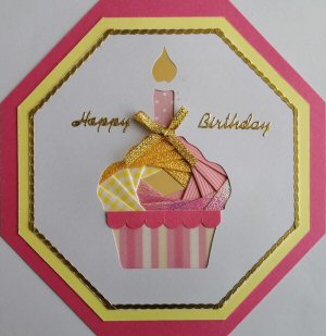 IF2318,Cup Cake with Candle, White Octagon Panel,Lemon Shandow on Dark Pink Octagon Card,Pink & Yellow Paper Happy Birthday,Oct Iris Folding Card Kit (144mm x 144mm)