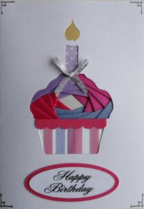 IF2319 Cup Cake & Candle, Pink & Purple with pink & Purple Stripe Case,Happy Birthday, White Iris Folding Card Kit (104mm x 148mm)