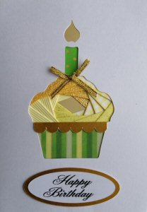 IF2320 Cup Cake & Candle, Yellow with Green & Yellow Stripe Case,Happy Birthday, White Iris Folding Card Kit (104mm x 148mm)