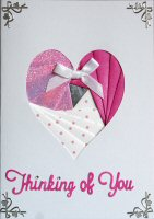 IF305A,Glitter Pink & White Heart, Thinking Of You, Iris Folding Card Kit (104mm x 148mm)