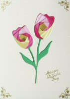 IF1328a, Pink & Cream Tulip,Happy Mothers Day,Iris Folding Kit (127mm x 178mm)