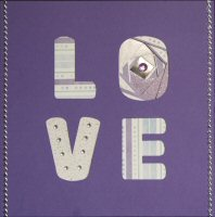 IF433A, Purple ,Love Square Card  ,Iris Folding Kit (144mm x 144mm)