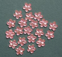 ME769, Pink 10mm, Flower Sparkle Gems, Pack of 20