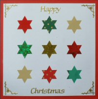 PAT311, Multi Star,Happy Christmas, Iris Folding Card Kit