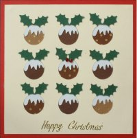 PAT312, Multi Xmas Puddings,Happy Christmas, Iris Folding Card Kit