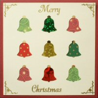 PAT313, Multi Bells,Merry Christmas, Iris Folding Card Kit