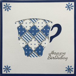 PAT369 Patchwork Tea Cup,White Panel, Blue & White,Cobalt Blue Card,Happy Birthday,Sqr Patchwork Card Kit (144mm x 144mm)