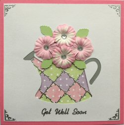 PAT370 Patchwork Watering Can, Pink, Purple & Green Patchwork on Sqr Dark Pink Card Kit (144mm x 144mm)