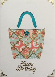 PAT371, Patchwork Handbag,Floral Pattern Patches, Happy Birthday, Card Kit (104mm x 148mm)