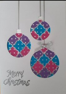PAT372 Patchwork Snowflake,White Panel, Blue & Silver,Cobalt Blue Octagon Card,Happy Christmas,Oct Patchwork Card Kit (144mm x 144mm)