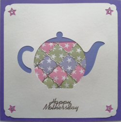 PAT375 Patchwork Teapot,White Panel, Green, Lilac & Pink Star Paper,Purple Square Card,Happy Mothersday,Sqr Patchwork Card Kit (144mm x 144mm)