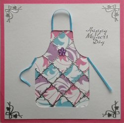 PAT376 Patchwork Apron,White Panel, Blue, Lilac & Pink Paper,Dark Pink Square Card,Happy Mothersday,Sqr Patchwork Card Kit (144mm x 144mm)